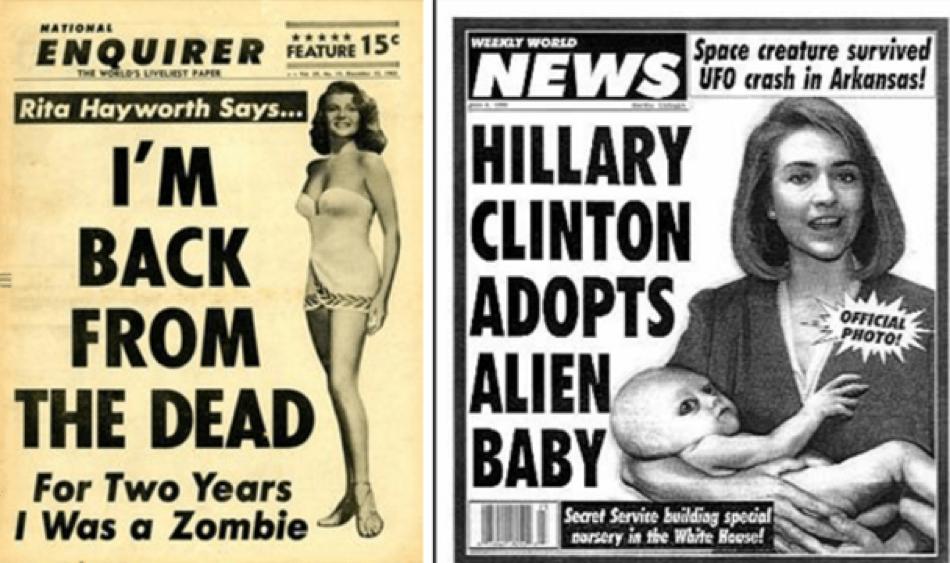 Rita Hayworth foi zombie e Hillary Clinton adotou um alien nestas fake news