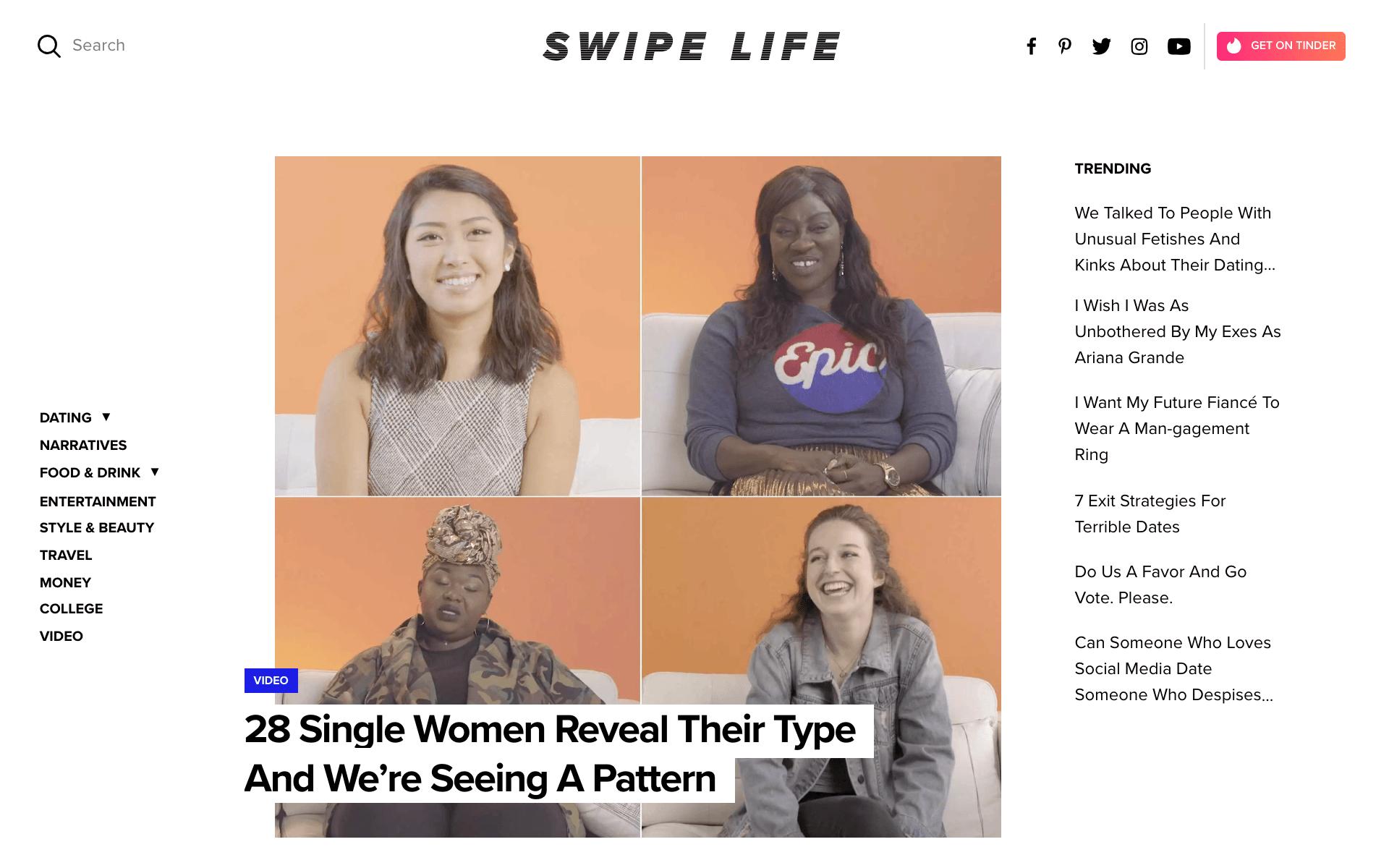 """O site Swipe Life mostra histórias sobre o """"single lifestyle"""""""