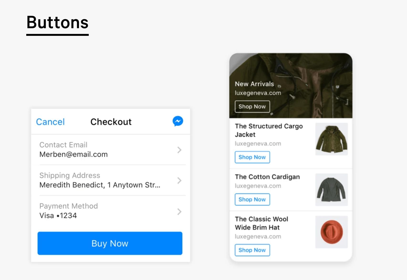 Os clientes podem fazer compras diretamente no Messenger