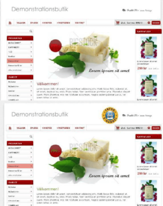 Sites reais e alterados foram mostrados aos participantes