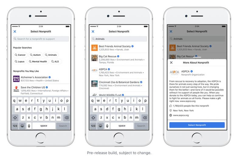 Facebook Fund Raiser Option