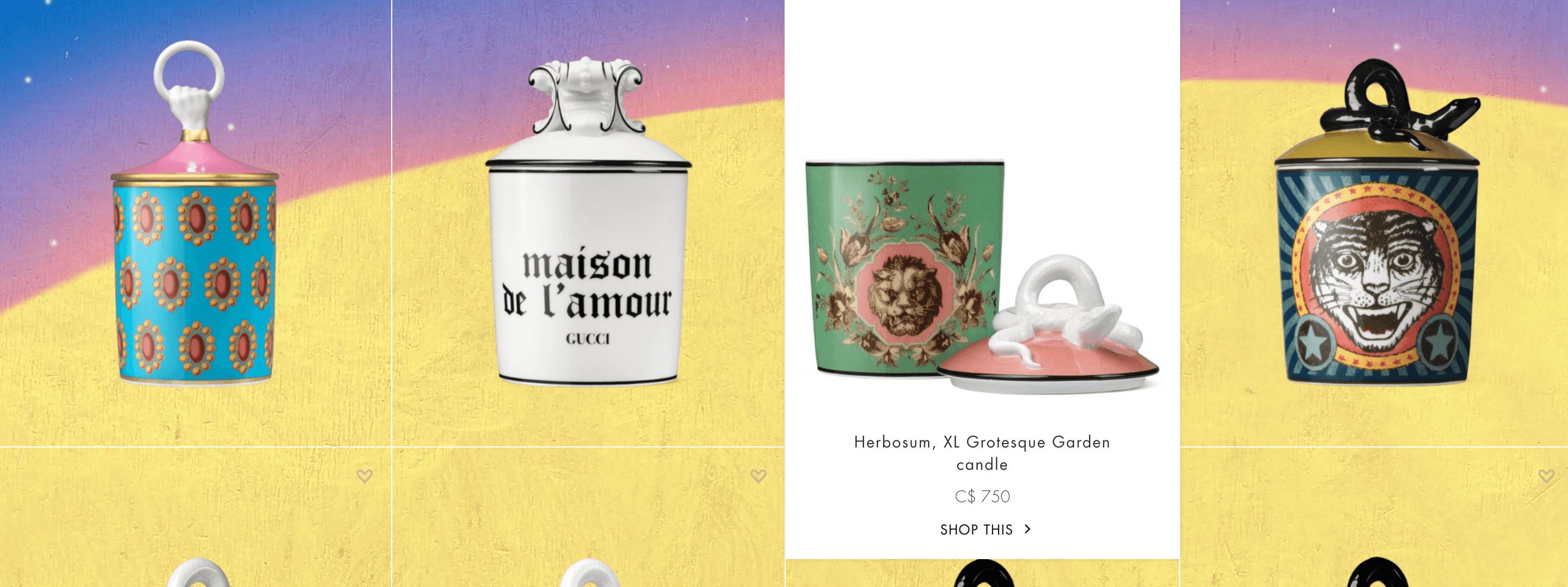 O site da Gucci apresenta as imagens de forma criativa
