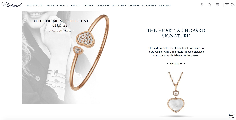 Fundo branco e muito destaque das joias Chopard