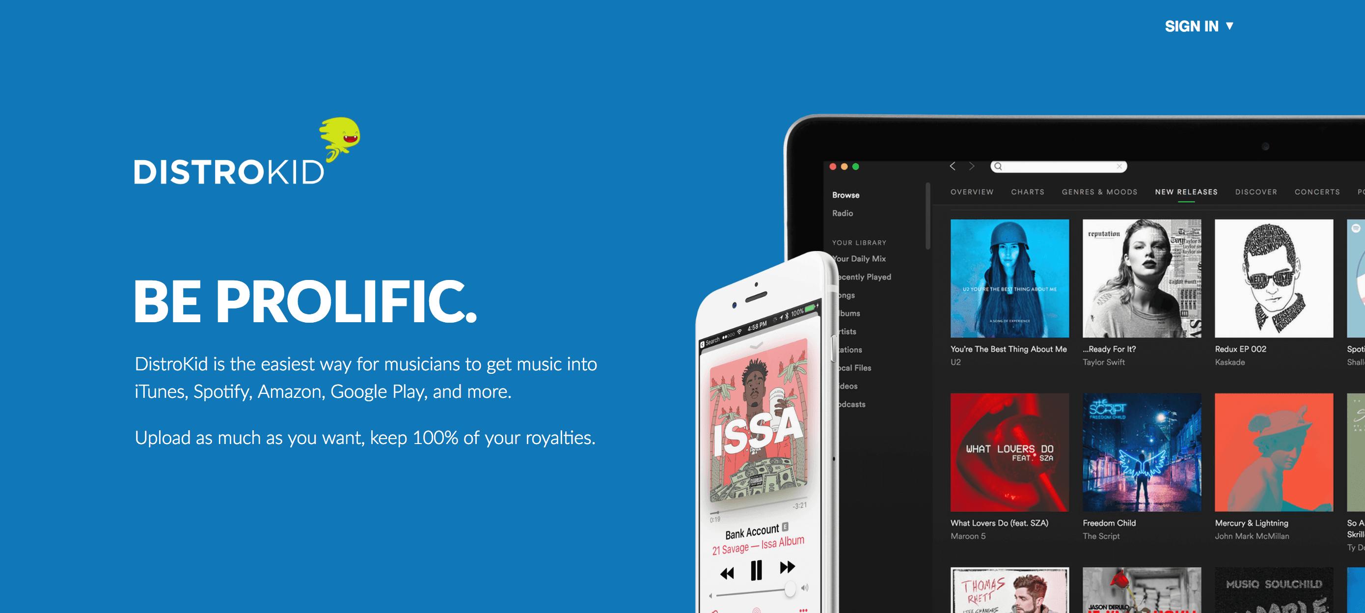 A DistroKid permite distribuir música em várias plataformas